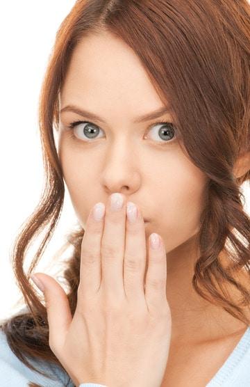 Woman burping