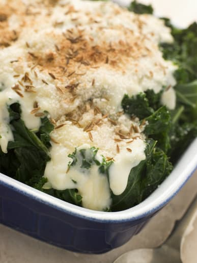 Curly Kale with Cheese Sauce