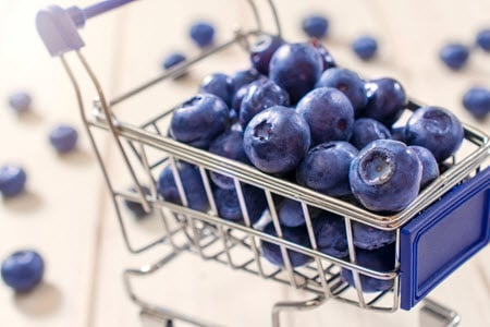 Cart of blueberries