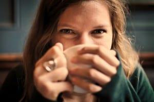 Girl drinking hot chocolate