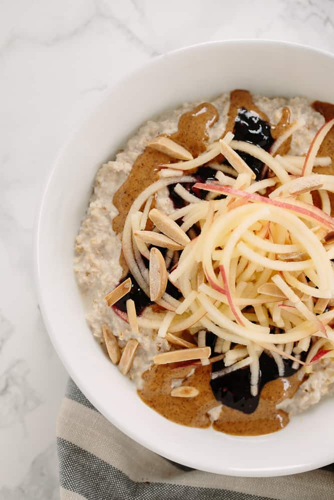 Peanut Butter and Jelly Oatmeal Bowl