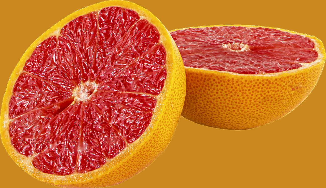 Halved grapefrult