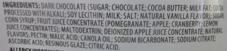 Nutrition label for Brookside