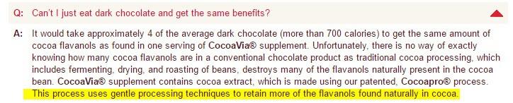 CocoaVia vs dark chocolate