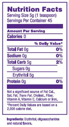 Swerve Nutrition Facts