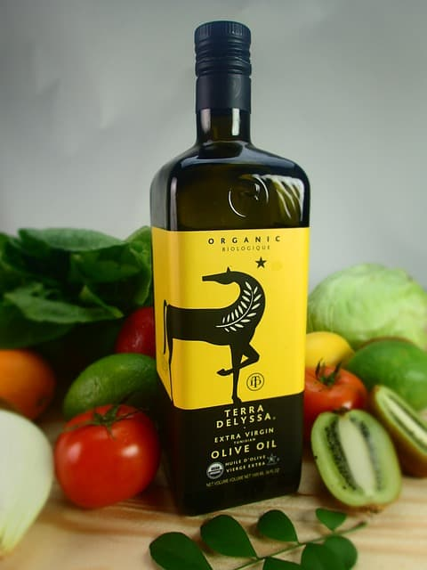 Dark olive oil bottle
