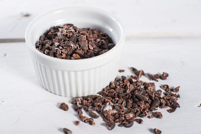 Bowl of cocoa nibs