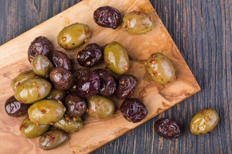 Olives on a board