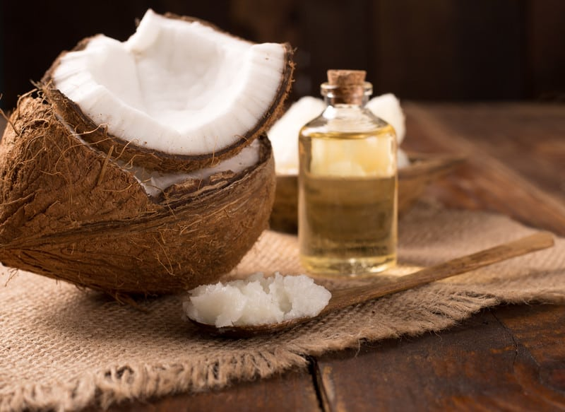 MCT oil and coconut on a counter