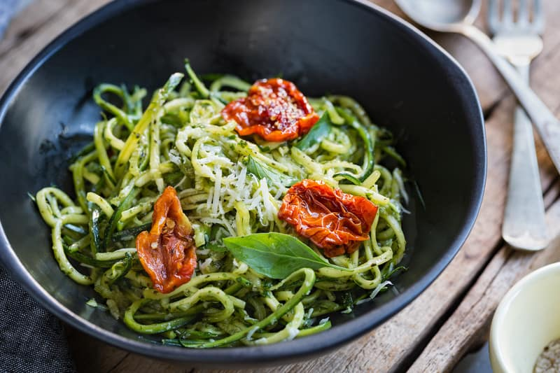 Zoodles with pesto and sundried tomatoes