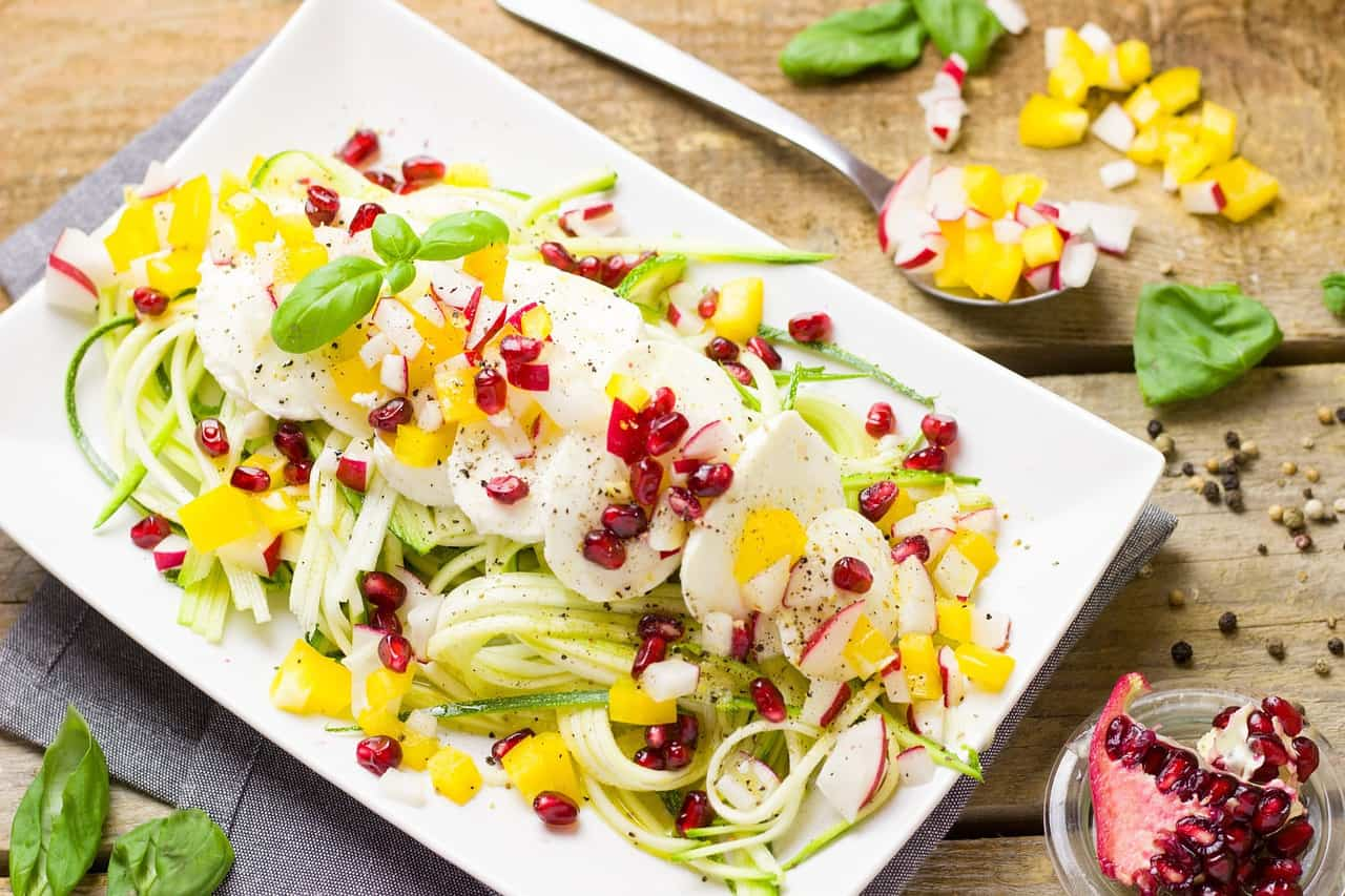 Zoodle salad with pomegranate