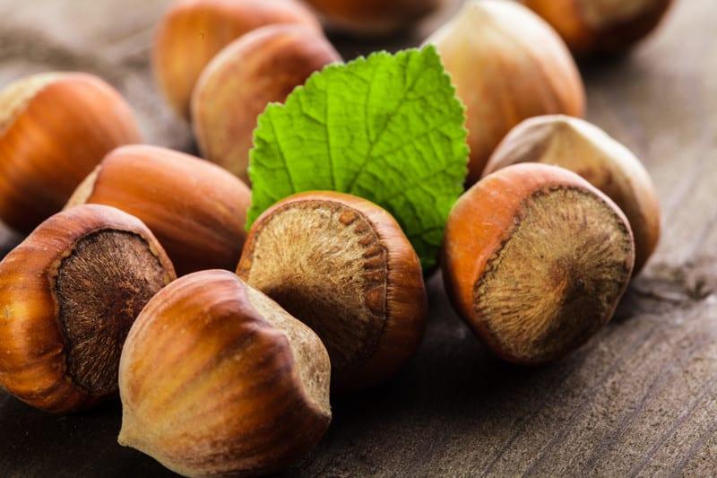 Hazelnuts on a table