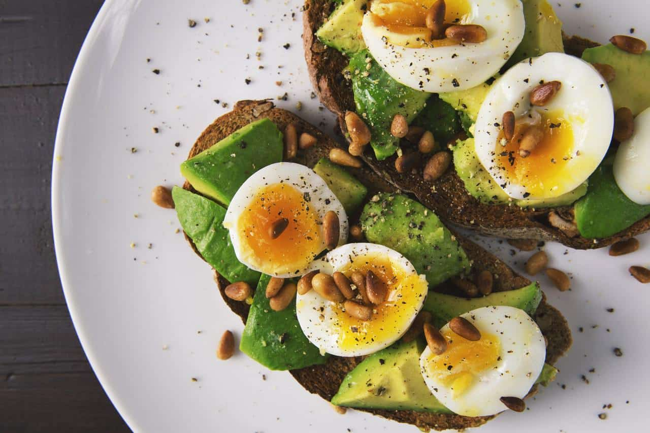 Avocado on toast with egg