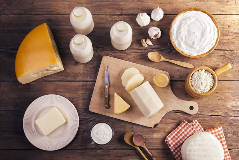 Dairy on a table