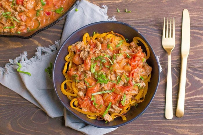 Butternut Squash Noodles with Tomato Basil Sausage Cream Sauce