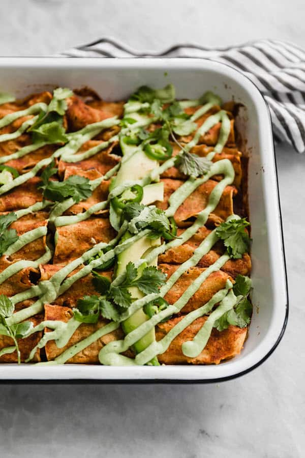 Vegan Butternut Squash Black Bean Enchiladas with Jalapeno Cashew Creama