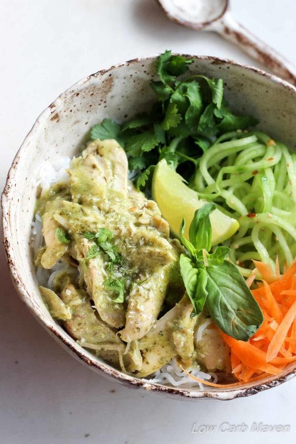 Coconut Basil Chicken Shirataki Noodle Bowl