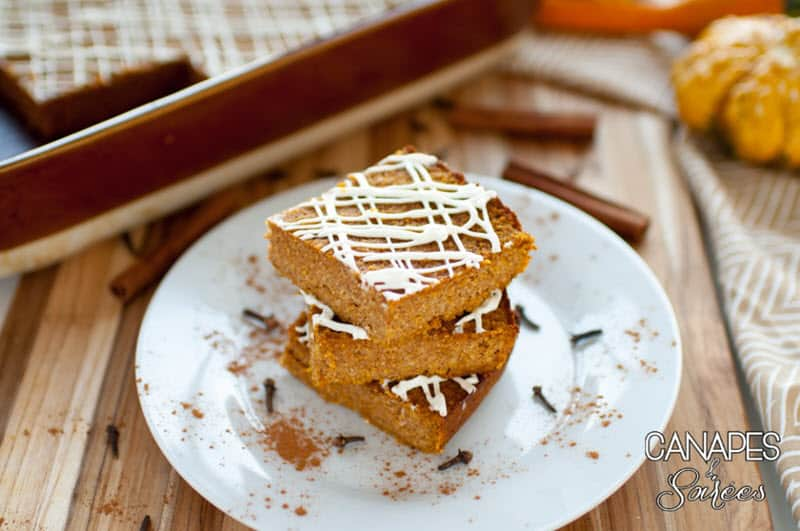 Low Carb Pumpkin Bars with Cream Cheese Drizzle