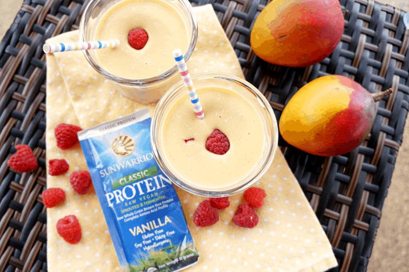Vegan Raspberry Mango Protein Smoothie