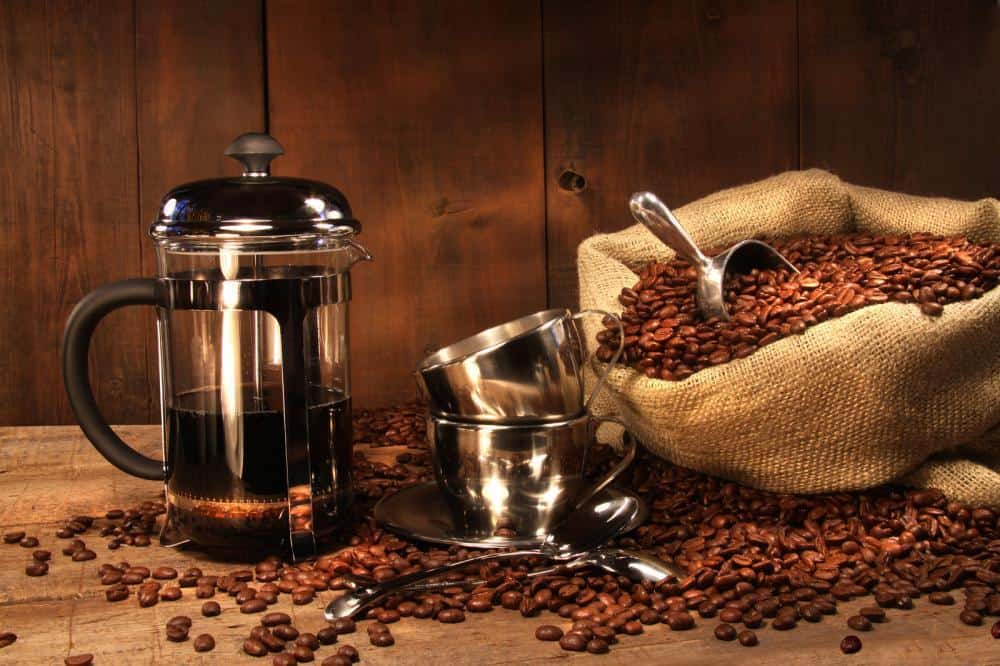 French press and coffee