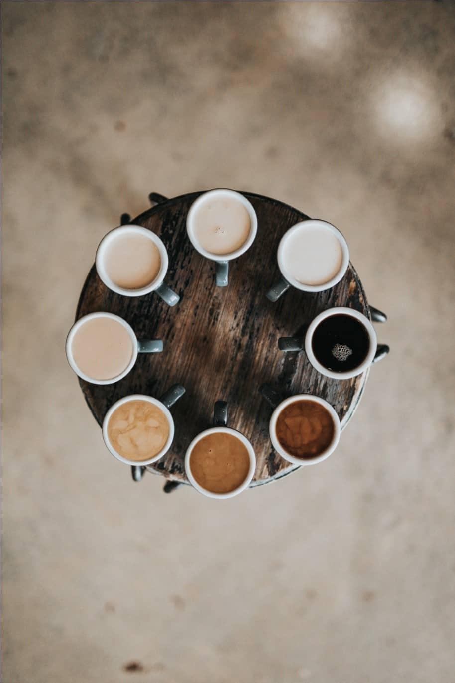 Different types of coffee made from the decaffeinated variety